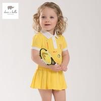 DB3938 Dave Bella Summer Baby Teenis Dress Girls Yellow Sports Dress Kids Polo Dress Fancy Stylish