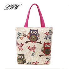 2016 New Vintage Female Cute Owl Bag Fashion Embroidery Canvas Tote Bags for Women Casual Tote Women Top-handle Bags