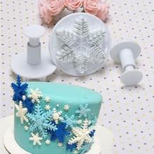 الزفاف حزب ندفة الثلج أقراص سكرية كعكة تزيين الغطاس 3 قطعة/المجموعة السكر الحرفية قالب تقطيع أدوات عيد الميلاد كعكة تزيين أدوات