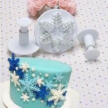 งานแต่งงานเกล็ดหิมะFondantเค้กตกแต่งPlunger 3ชิ้น/เซ็ตน้ำตาลหัตถกรรมเครื่องตัดแม่พิมพ์เค้กคริสต์มาสตกแต่งเครื่องมือ