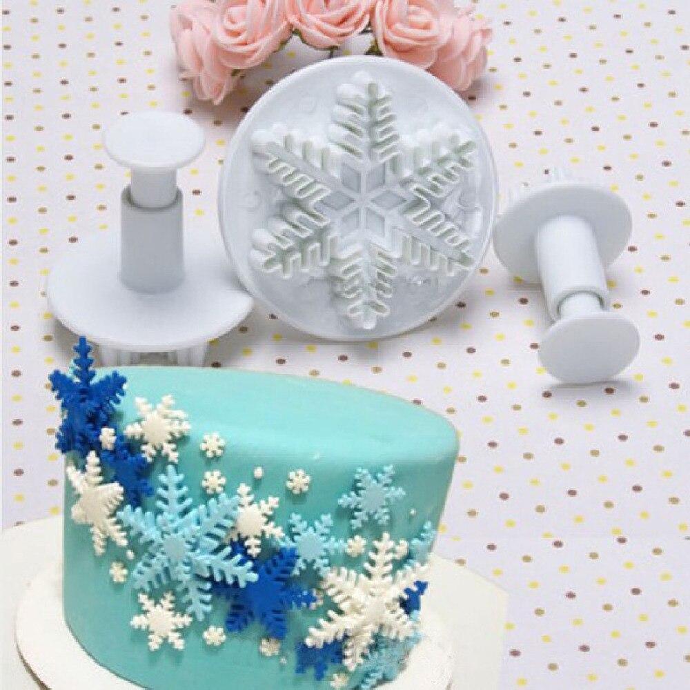 Wedding Party Snowflake Fondant Cake Decorating Plunger 3Pcs/Set  Sugar Craft Cutter Mold Tools Christmas Cake Decorating Tools