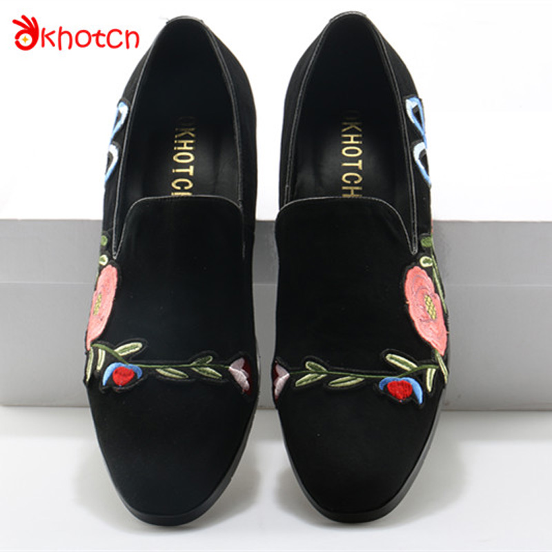 Okhotcn Man Moccasins Luxury Brand Men Loafers Shoes Male Floral Embroidery Men Suede Casual Round Toe Flat Shoes Free Shipping cbjsho brand men shoes 2017 new genuine leather moccasins comfortable men loafers luxury men s flats men casual shoes