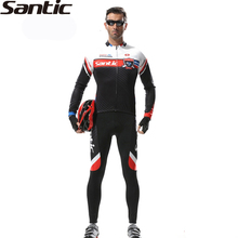 SANTIC Men's Race Anti-Sweat Long Sleeve Cycling Jersey Jacket 3D Padded Pants Sets Breathable Quick Dry Bike Bicycle Suits