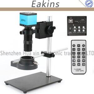16MP 1080P промышленный цифровой видео микроскоп камера набор ИК-пульт + полностью металлический держатель подставка + 144 светодиодное кольцо дл...