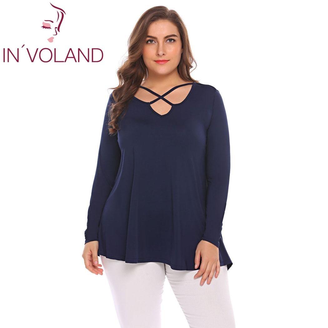 IN'VOLAND Grande Taille M-5XL Femmes De Base T-Shirts Tops Automne Printemps Croix Entaillé Cou À Manches Longues Solide Grande Tunique T-shirt T-shirts