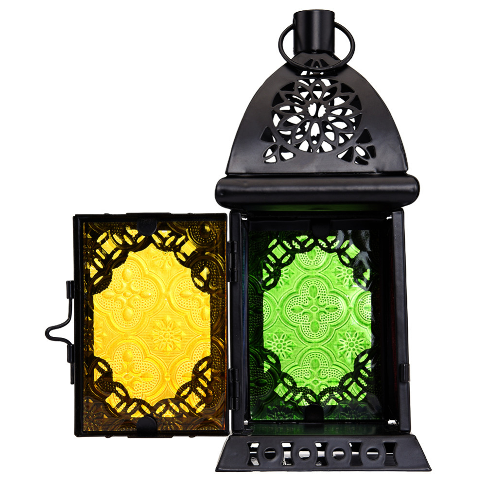 Retro Moroccan Style Matte Black Cast Iron Handmade Square Scrollwork Candle Chandelier Holder For Party Wedding