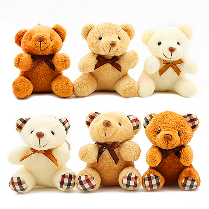 12cm Teddy Bear Stuffed Animals Plush Keychain Toys For Children Kawaii Soft Baby Doll Christmas Gift