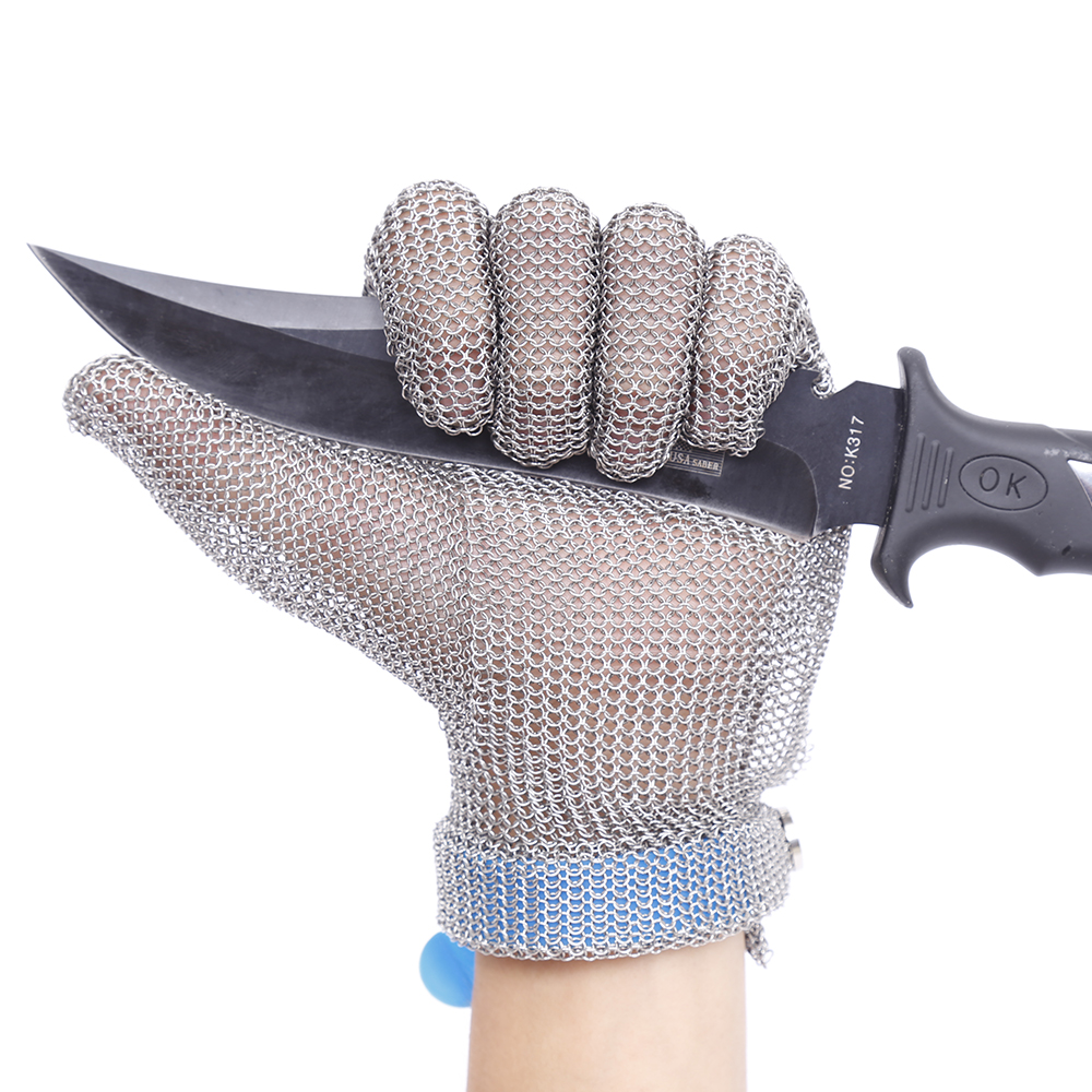 Plastic Belt Stainless Steel Mesh Glove Cut Resistant Chain Mail Protective Anti Cutting Glove for Kitchen