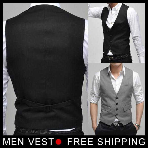 Men's Formal Suit Vest Top Slim & Fitted Luxury business Male Dress Vest for Male mens Weskit 4 buttons size M- XXXL