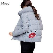 MISSFEBPLUM New Parkas Mujer Invierno 2017 Winter Jacket Women Stand Collar Short Warm Cotton Parkas Mujer Coats Plus Size