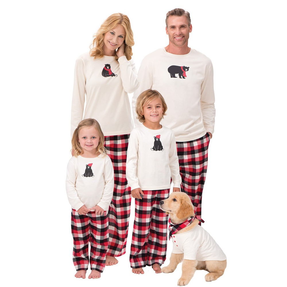 Father Mother Boy Girl Grid Pants Clothing Family Matching Cotton T shirt Men Women Christmas Family Matching Outfits Matching