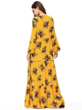 Abaya long sleeve muslim women flowers yellow kaftan dress