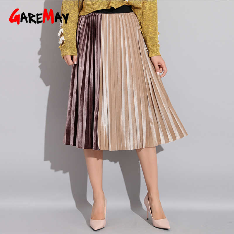 437c4904e9 Patchwok Midi Skirt Elastic High Waist Pleated Long Skirt Female A-Line Velvet  Pleated School