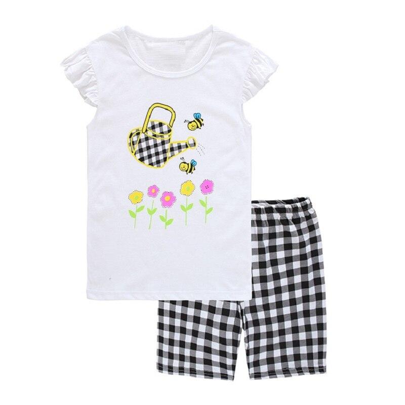 Hooyi Baby Meisjes Pyjama Kleding Pak Zomer Bloem Kinderkleding Kids Vestidos Bijen 2 3 4 5 6 7 Jaar Katoenen Shirt Plaid Pant Complete Reeks Artikelen