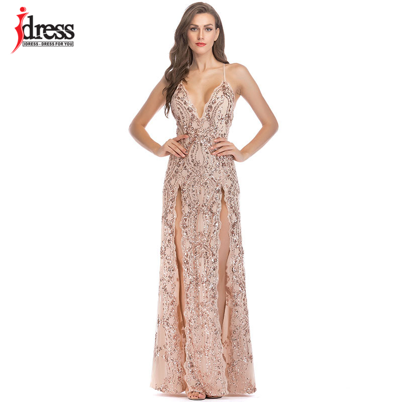 IDress Sexi Women Long Luxury Dress Nightclub Clothes Sexy Spaghetti Strap V -neck Sequined Maxi Evening Ball Grown Party Dresses a3371880fe45