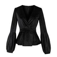 Rosetic Lantern Sleeve Velvet Fabric V Neck Sexy Slim Tops Tee 2017 Autumn Women New Gothic Style Shirts