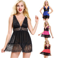 Lace Sexy Black Baby Doll Transparent Erotic Lingerie Sleepwear Women Sexy Lingerie Hot Erotic Sexy Clothes