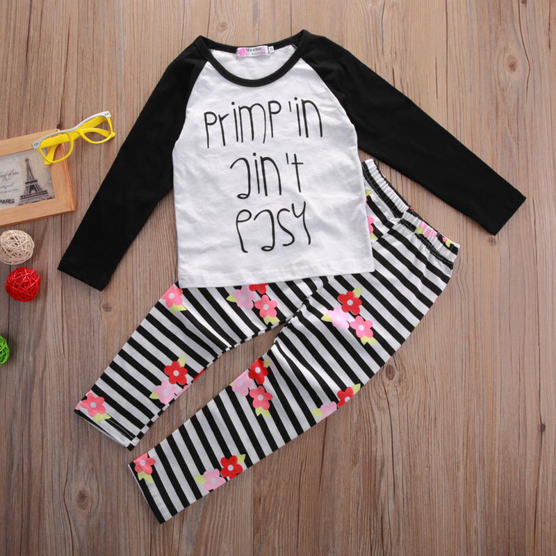 Toddler Kids Baby Girls Causal font b Tops b font T shirt Long Pants 2pcs Outfits
