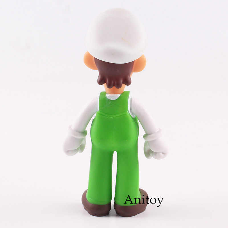 Figuras Super Mario Bros Luigi Action Figure com Chapéu Branco PVC Collectible Toy Modelo for Kids Presente 13 cm