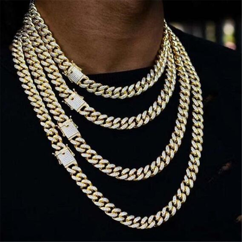 Hip Hop Full Rhinestones Iced Out Miami Curb Cuban Chain Necklace 50-75cm Length Gold Paved CZ Bling Necklaces For Men JewelryHip Hop Full Rhinestones Iced Out Miami Curb Cuban Chain Necklace 50-75cm Length Gold Paved CZ Bling Necklaces For Men Jewelry