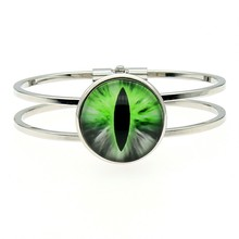 Women Fashion High Quality 25mm Green Eye Glass Cabochon Cuff Bangles Dropshipping Handmade Jewelry