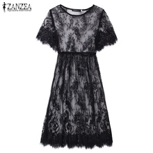 Summer Women Sexy Lace See Through Short Sleeve