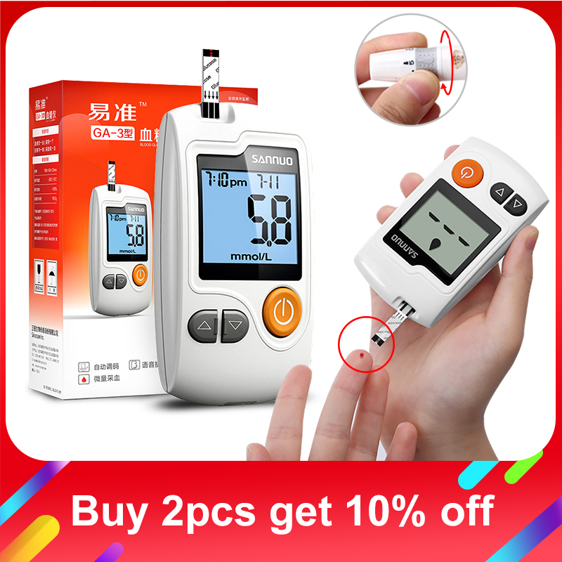 Sannuo Yizhun GA-3 Blood Glucose Meter Medical Device Glucometer Blood Sugar Monitor with Test Strips Free Code for DiabeticsSannuo Yizhun GA-3 Blood Glucose Meter Medical Device Glucometer Blood Sugar Monitor with Test Strips Free Code for Diabetics