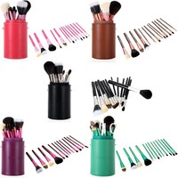 13 PCS Pro Makeup Brush Set Cosmetic Brushes Tool Kit Cup Holder Case Green