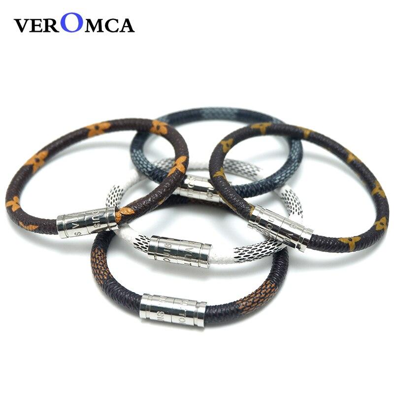 VEROMCA al por mayor pulsera de cuero pulsera de acero inoxidable hombres astilla pulseras magnéticas cuatro estilo cuero puede ser personalizado