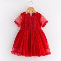 Hot Fashion Baby Girl Lace Dress Infant Princess Summer Style White Short Sleeve Hollow Dress Girls