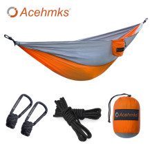 Acehmks Camping Hammock Swing 270CM*140CM Ultralight Portable Folding Parachute Nylon Hammock With 2 pcs Tree Ropes Carabiners(China)