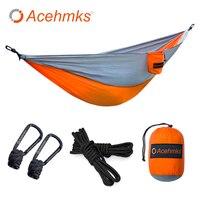 Acehmks Camping hamaca columpio 270 CM * 140 CM portátil ultraligero plegable de Nylon paracaídas hamaca con 2 piezas árbol de cuerdas mosquetones