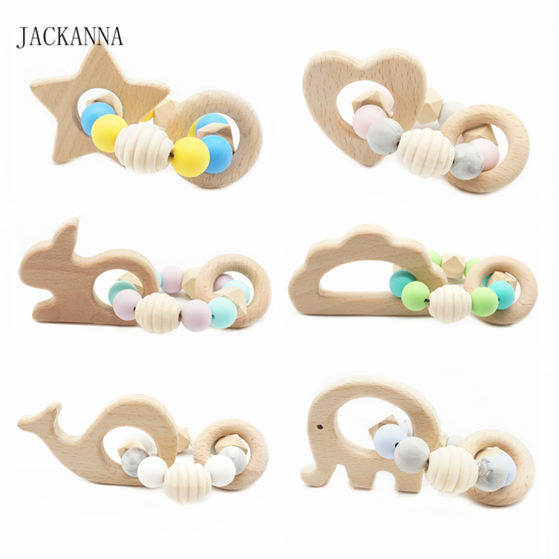 Infant Baby Teething Bracelet Animal Wooden Teether Silicone Beads Teething Rattle Bracelets Nursing Toys Gifts Baby Teether