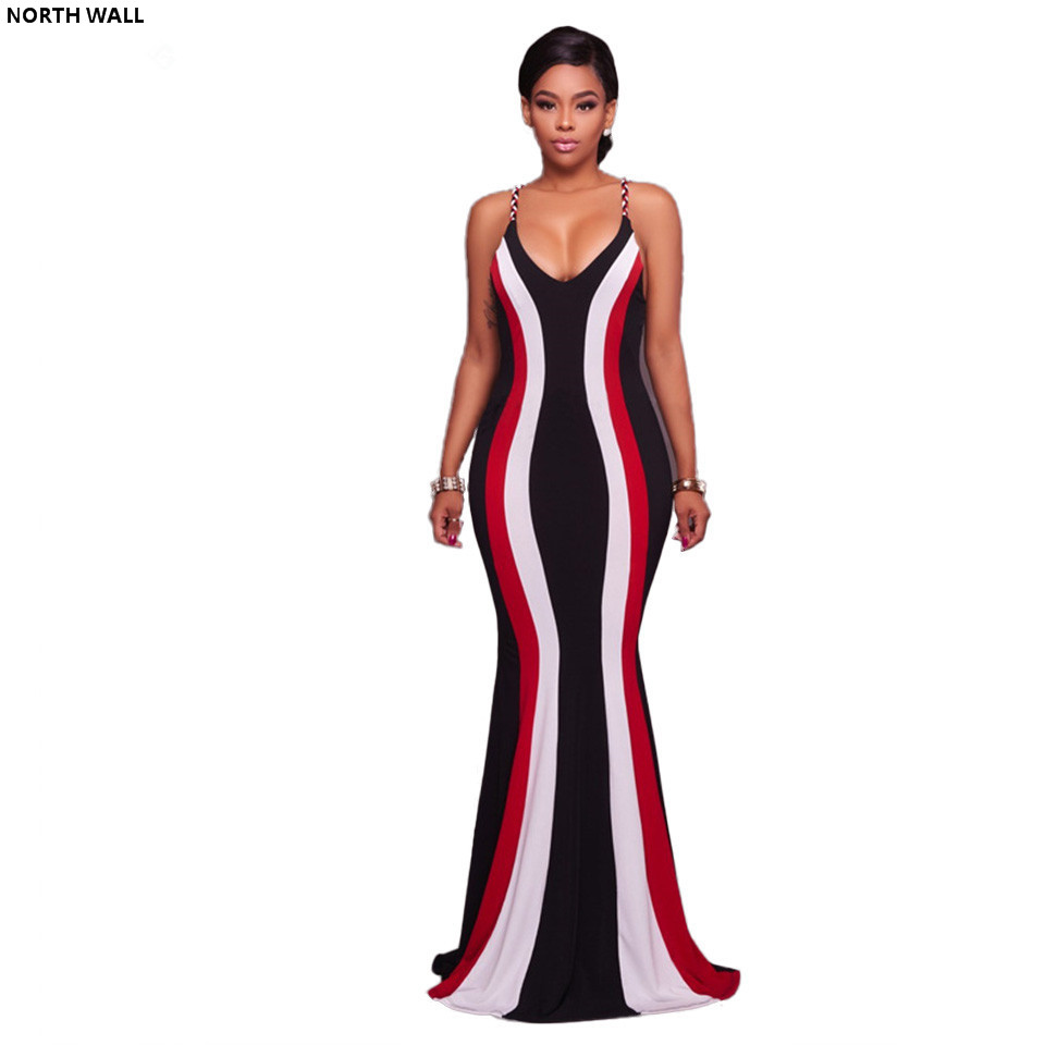 North Wall summer dress sexy long v neck dress 2018 striped patchwork straps floor length casual maxi beach party dresses