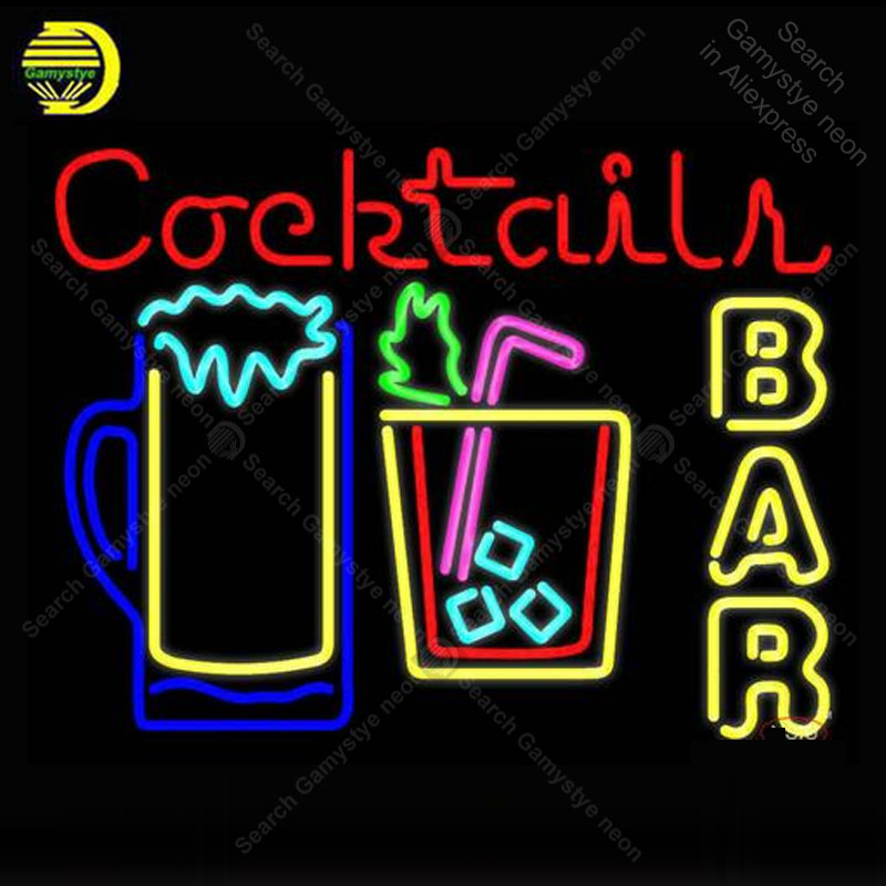 NEON SIGN For Cocktails Bar Open GLASS BEER BAR PUB Store
