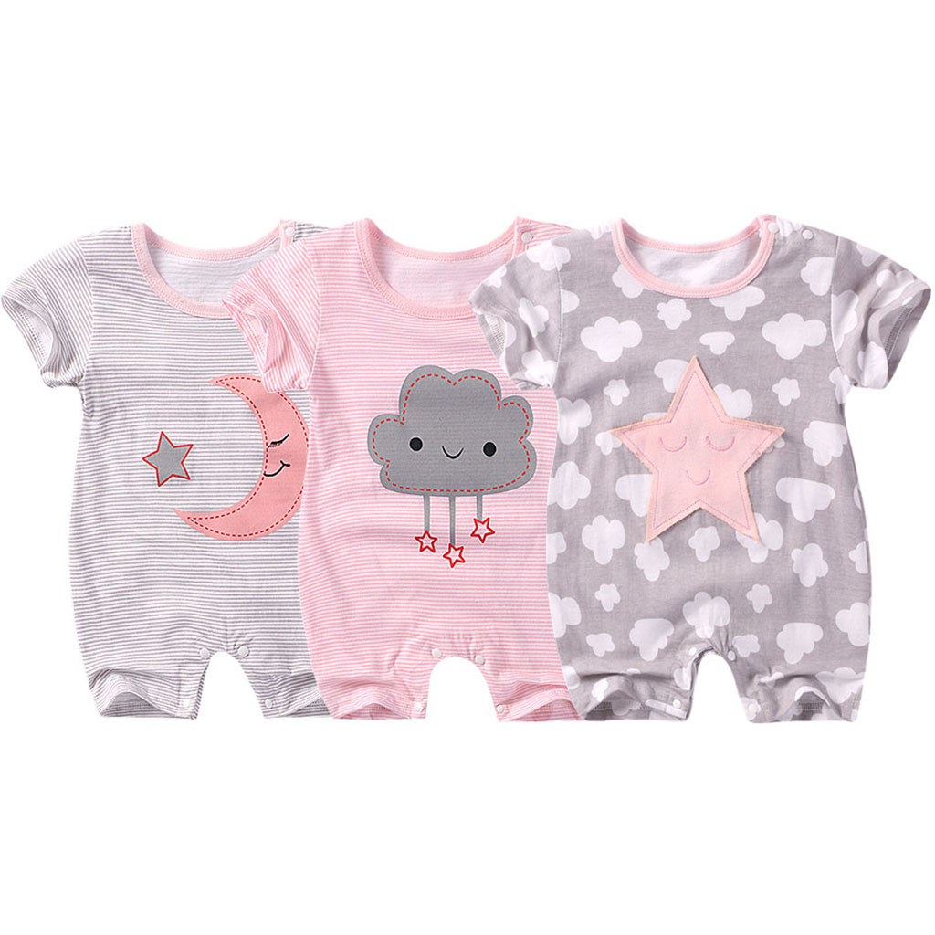 2019 Fashion Newborn Baby Boy Girl Short Sleeve Cotton Jumpsuit Star Cloud Moon Print   Rompers   Roupas Infantil Menino Body Baby