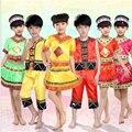 Дети танцуют одежды производительности костюм национальный тенденция рабочая одежда Костюмы Девушки Мяо танцы Хмонг Одежда