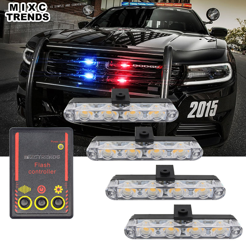 цена на 4x4 led DC 12V Warning Police Strobe light 4 in 1 Control DRL Car Truck Flashing Firemen Flasher Ambulance Emergency day light