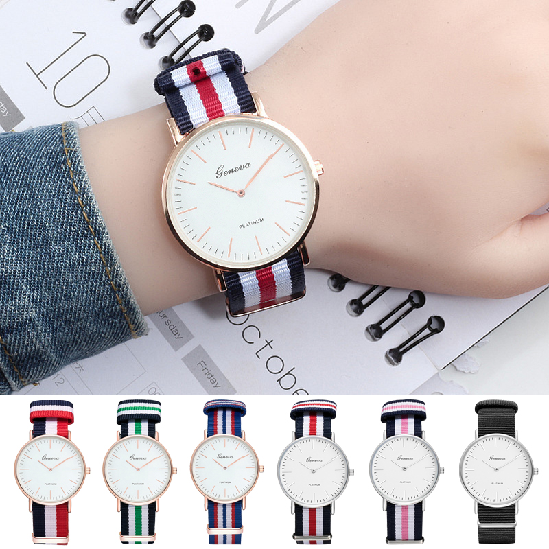 купить New Simple Couple Quartz Watch Men Luxury Fashion Casual Dress Women Watches Nylon Canvas Strap Wristwatches Clock Reloj Hombre по цене 63.15 рублей
