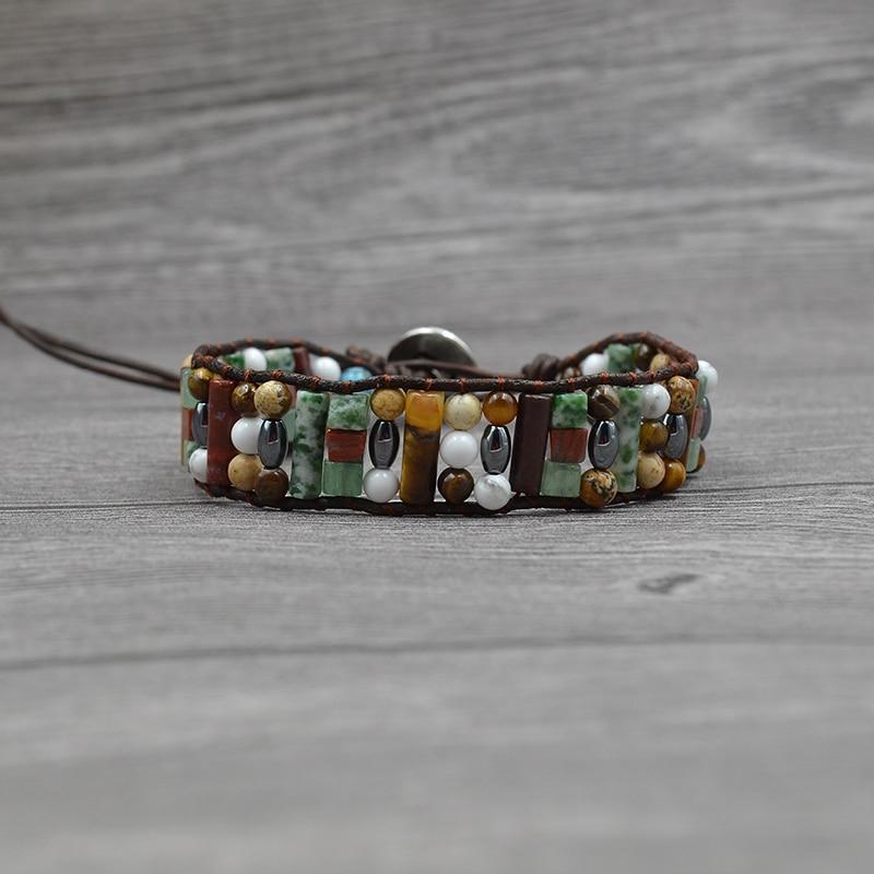 JoursNeige Women Boho Bracelet Natural Stone Single Leather Wrap Bracelet Stone Beaded Cuff Vintage Bracelet Fashion Jewelry
