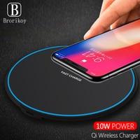 Cargador inalámbrico Base para iPhone XS MAX XR Samsung S10 más S9 S8 Nota 8 9 teléfono inalámbrico rápido cargador Qi adaptador de carga de Pad