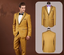 Custom Made Mens Fashion Slim Fit Suits Gold Peak Lapel Wedding Grooming High Quality Business Ternos