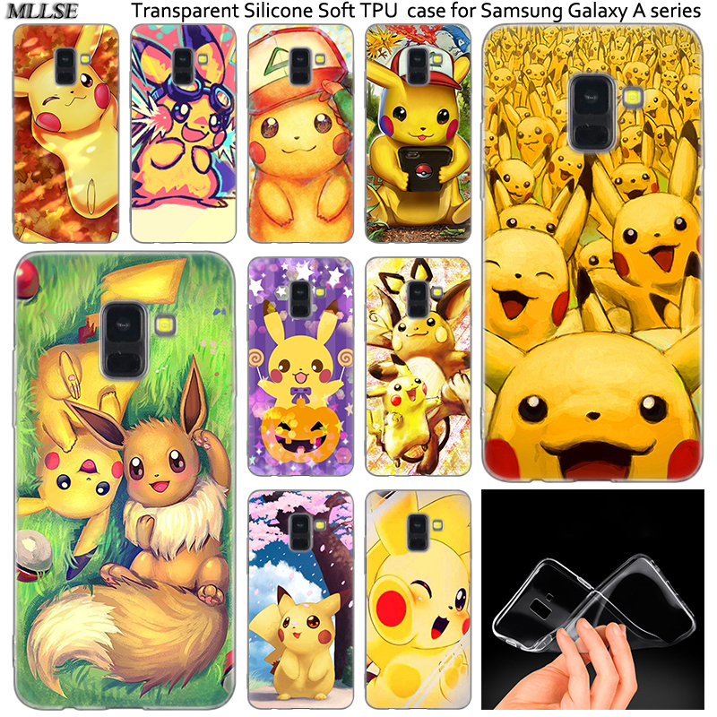 Anime Pokemons Pikachu Silicone Case For Samsung Galaxy A50 A30 A10 A40 A6 A8 Plus A20 E A5 A7 2018 2017 2016 Note 9 8 Cover