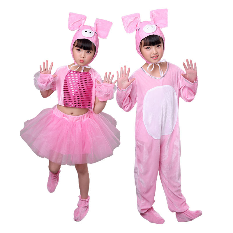 Kid girl boy animal pink pig costume set for children hat gloves shoes dress Halloween party cosplay performance costume