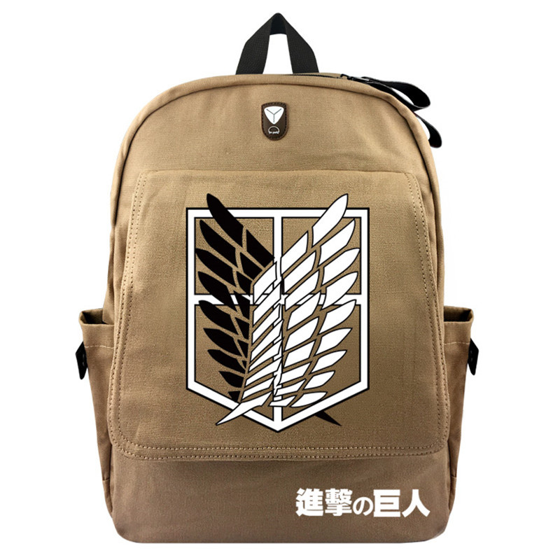 FVIP Anime Attack on Titan Backpack Canvas School Bag With Flap Pocket for Teenagers Student