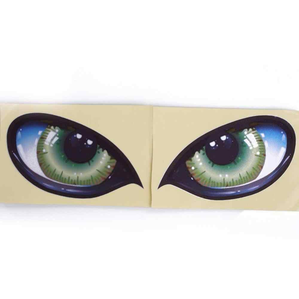 Autocollants voiture 2 pièces 3D stéréo réfléchissant yeux de chat voiture autocollant créatif rétroviseur décalque universel yeux autocollants