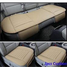 Front & Rear Car Seat Cover Breathable Bamboo Pad Mat PU Leather for Auto Chair Cushion