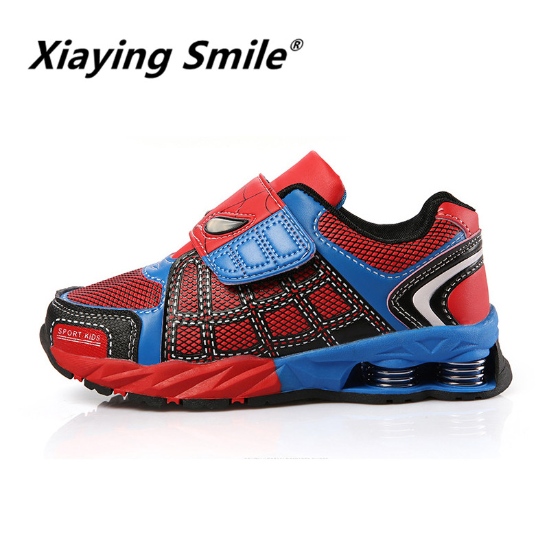 Xiaying Smile 2018 new style childrens tennis sneaker spiderman boy girl leisure breathable spring summer fashion sports shoes