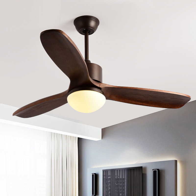48 Inch Nordic Wooden Creative LED Ceiling Fan Lights