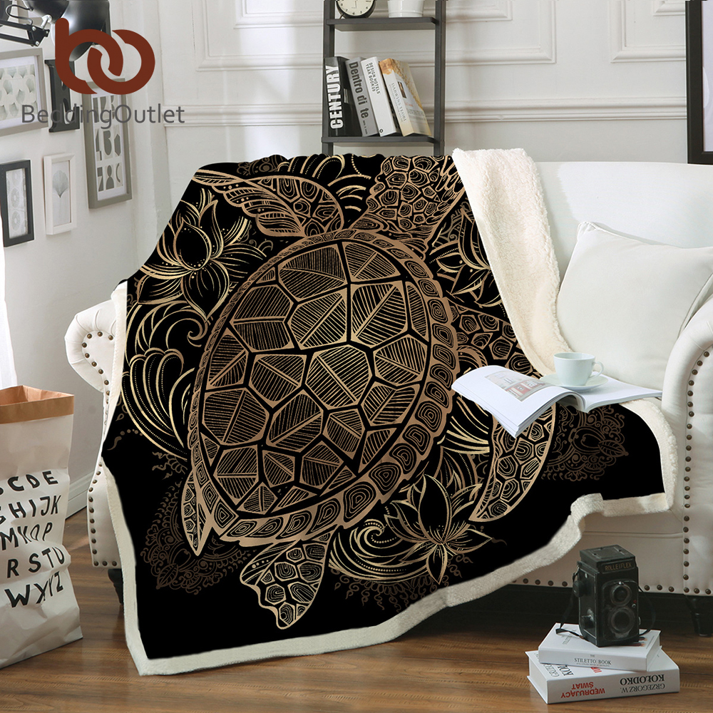 BeddingOutlet Animal Golden Tortoise Velvet Plush Throw Blanket Turtles Sherpa Blanket for Couch Flowers Lotus Soft Throw